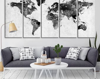 World map canvas etsy large wall art world map canvas print watercolor world map travel canvas print black gumiabroncs Gallery
