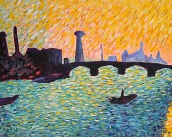 Impressionistic Painting of The Waterloo Bridge