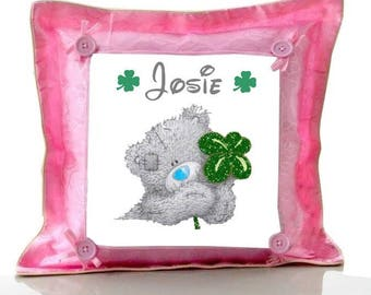 Cushion Pink Teddy bear clover personalized with name