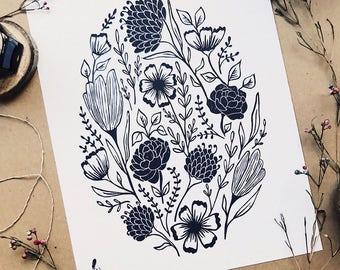 Folk Floral art print. Modern handmade minimalistic nature linocut flower ink print for your home