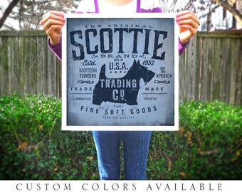 Scottie Scottish Terrier dog trading company graphic art giclee signed artists print by Stephen Fowler