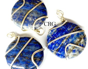 Silver Plated Round Spiral Wrapped Lapis Pendant (RS12DG)