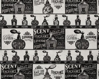 Perfume Bottles Fabric, Parfum, French Perfume, Vintage Advertising - 100% Cotton, By the Half Yard