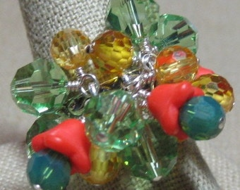 Counting on Spring Greens, Yellow & Orange Red Flowers Cluster Ring - R172
