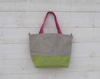 Bag ball two handles, lime green and pink, suede coated linen, zipped pocket, closed with lobster clasp, lightweight, washable, trinket