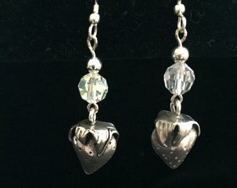 Sterling Silver Earrings with Crystal & Silver Strawberry Dangle