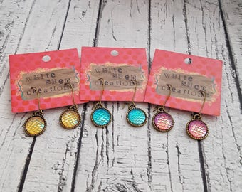 Mermaid Stud Earrings, Mermaid Earrings, Kids Scale Earrings, Gifts For Girls, Kids Jewelry, Dragon Earrings, Mermaid Dangle Earrings