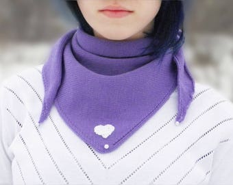 Triangle scarf Lilac bactus Heart for her Lavender scarf Triangle shawl Lilac shawl Lilac scarf Wool collar