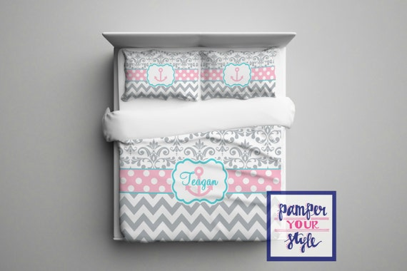 Merveilleux Gray Pink And Aqua Anchor Bedroom Decor Anchor Monogrammed
