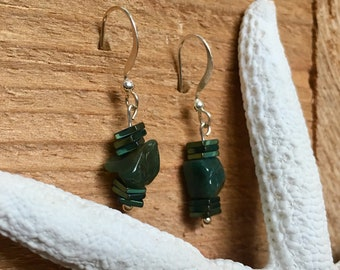 Green natural stone and metal bead drop earrings