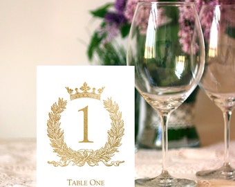 Wedding 1-25 Table Sign 5x7 Gold Foil Calligraphy Table Numbers Sign DIY Wedding Ceremony Printable Image Digital INSTANT DOWNLOAD 300dpi