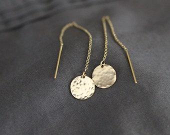 gold earrings, delicate gold earrings, gold ear threaders, hammered disc, shiny earrings, sterling silver ear threaders, E05