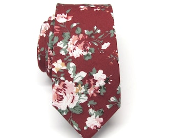 Cotton Mens Tie. Cotton Dark Red Pink Green Floral Skinny Tie With Matching Pocket Square Option