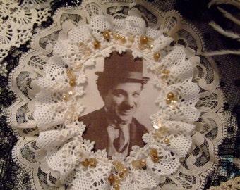 OOAK Handmade Silk Print Charlie Chaplin Lace Rosette Brooch