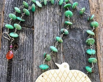 Chrysoprase Necklace | Carved Bone Eagle | Carnelian | Ruby | Sterling Silver | Bohemian | Gemstone | Tribal