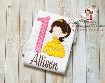 Princess Birthday Outfit, Belle the Beauty Birthday Shirt, Toddler Birthday Shirt, Embroidered Name, Personalized, First Birthday Party