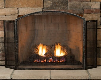 Grizzly Hand-Forged 3-Panel Fireplace Screen