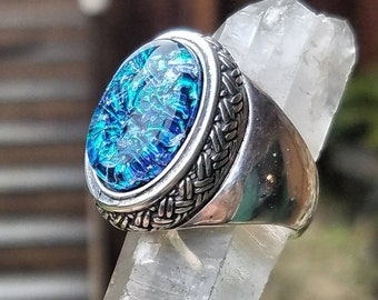 NEW Men's Weaved Sterling Silver Cremation Jewelry Ring Ashes InFused Glass Pet Urn Ring Size 10