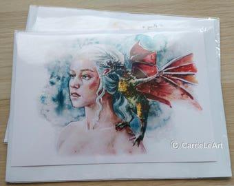 Game of Thrones Card.GOT Fan Art.Daenerys Targaryen card.Game of Thrones Birthday Card.Game of Thrones Gift.Daenerys Targaryen Fan.GOT Card