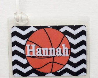 Basketball Mom Bag Tag, Basketball Party Favor, WNBA Fan Basketball Bag Tag, Basketball Player Gift, Basketball Team Gift, Basketball Tag