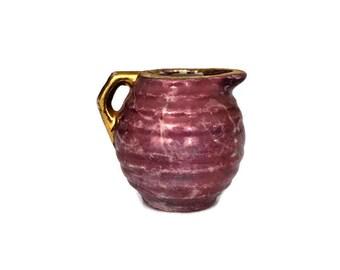 Vintage Violet and Pink Gold Pottery Pitcher Creamer