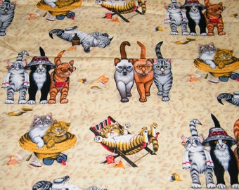 BTY Cute CATS Kittens on BEACH Print 100% Cotton Quilt Craft Fabric by the Yard