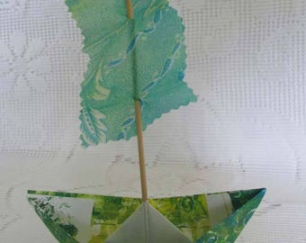 paper boat sailboat from hand printed paper and fabric