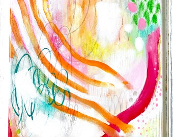 Abstract Painting/ 11x14 inch Canvas/ Joy Often/ Fullness of Joy Collection/ Wall Art/ Colorful Home Decor/ Art Gift/ Fine Art
