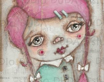 Original Folk Art Mixed Media Whimsical Painting on Wood for Girls - Soulful Eyes