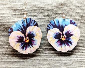 Blue Flower Earrings / Laser Cut Wood Earrings / Stainless Steel / Hypoallergenic / Flower Jewelry / Summer Earrings / Pansy Earrings