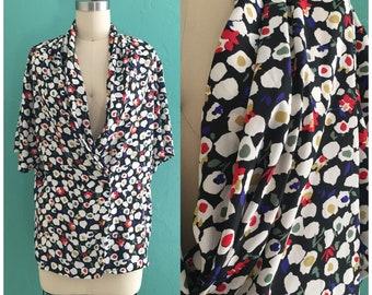 Vintage 80er Jahre schwarz Blumendruck Bluse / / Frühjahr Aufdruck