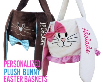 Personalized Easter Baskets Plush Bunny Chocolate for Boys or Pink White Girls Monogrammed Embroidered Name Easter Egg Basket Children