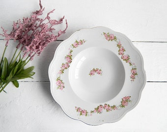 Antique White Limoges Porcelain Bowl with Pink Roses