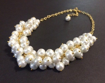 White and Gold Cluster Necklace - Chunky Statement Jewelry - Bib Necklace Pearl Necklace Big Bubble Beaded Gold Jewelry