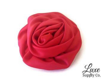 Red Satin Swirl 3 inch Rosettes - You Choose the Quantity! -  Satin Rolled Rosette Flower- Handmade Fabric Flower Applique for DIY Projects
