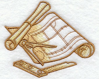 Architect Tools Embroidered Flour Sack Hand/Dish Towel