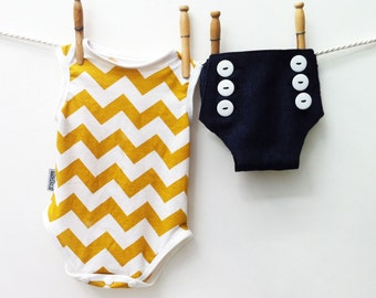 Spring Baby Toddler Outfit - Yellow Chevron Onesie Sailor Nautical Bloomers Diaper Covers