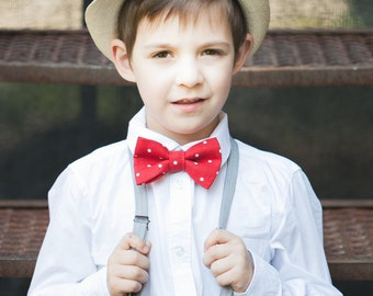 Red Polka dot bow tie - Christmas Red bow tie -  Boy Linen bow tie - Ring bearer bow tie - Toddler boy bowtie - Ring bearer outfit