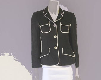 Moschino Cheap and Chic mid 90's Y2k Black and Cream Pipped Jacket