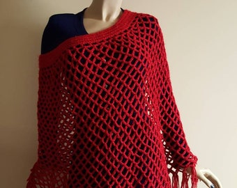Burgundy red vintage crocheted poncho