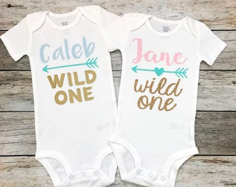 Twins Wild One First Birthday Boy/Girl Birthday Shirts with Names (Customize Your Colors), Twins First Birthday, Twin Birthday Shirts