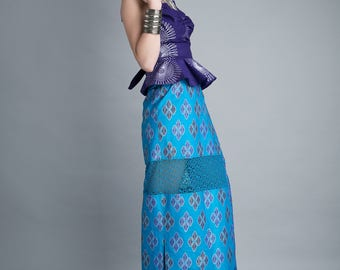 Ankara Wrap Skirt in Bright Wax Block Cotton