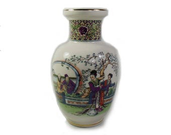 Vintage Japanese Vase with Figures, Japanese Ceramic Vase, Japanese Decor, Housewarming Gift, Christmas Gift for the Home, Japanese Figures