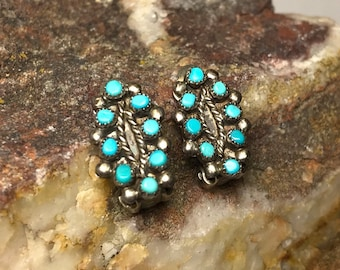 Vintage Zuni Petit Point Turquoise and Sterling Silver Clip-On Earrings