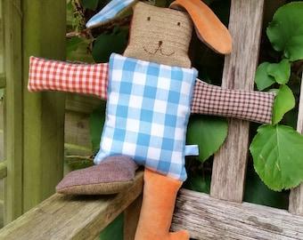 "Stuffed rabbit ""Happy Feet"", cuddle rabbit, stuffed animal, Leukgemaakt, children's toys, kids present, Christmas, birthday gift, baby"