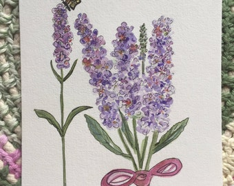 An Original Pen and Ink and Watercolor, Butterfly bush with Butterfly