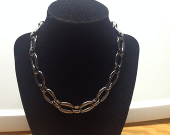 Vintage Gray Silvertone Chain Necklace