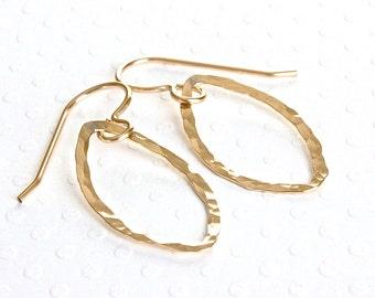 Gold Leaf Earrings, Handmade Gold Dangle Earrings, Geometric Earrings, Gold Filled Jewelry, Hammered Earrings, Artisan Jewelry for Women