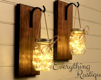 Mason Jar Lanterns, Mason Jar lights Set of 2, Rustic Mason Jar, Wall Sconces,  Shabby Chic, Rustic Decor