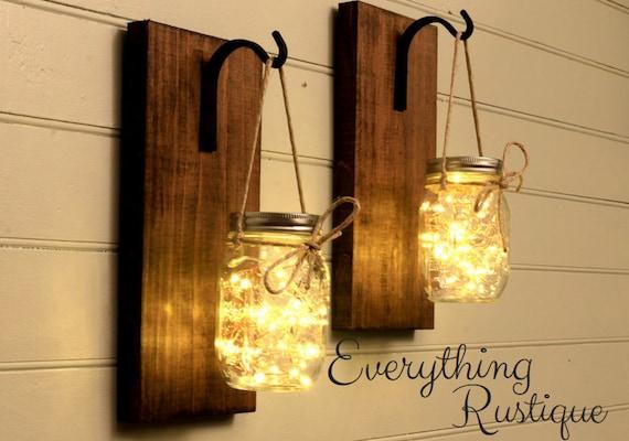 Mason Jar Lanterns Mason Jar Lights Set Of 2 Rustic Mason